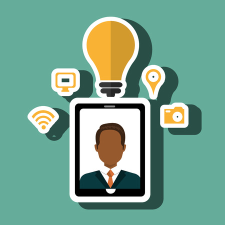 touchphone: Smartphone and man isolated icon design, vector illustration  graphic