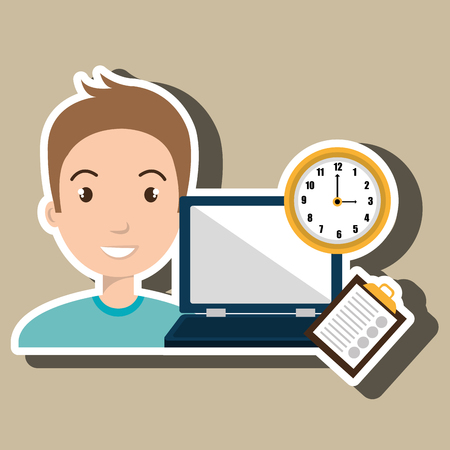 conection: man with computer  isolated icon design, vector illustration  graphic