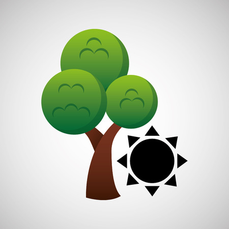 tree with sun icon, green concept, vector illustration