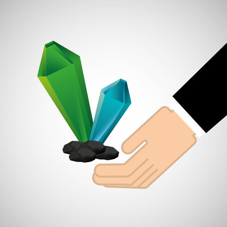 cristal: hand holding cristal, green concept, vector illustration