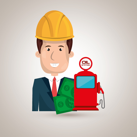 man with money and oil isolated icon design, vector illustration  graphic