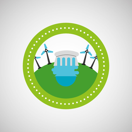 wind turbine and water, green concept, vector illustration