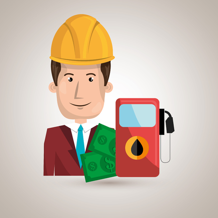 futures: man with money and oil isolated icon design, vector illustration  graphic