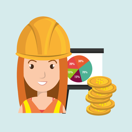 futures: woman and industry isolated icon design, vector illustration graphic