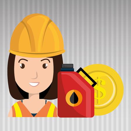 trabajador petroleros: aceite de la persona del trabajador aislado icono del diseño, ejemplo gráfico del vector