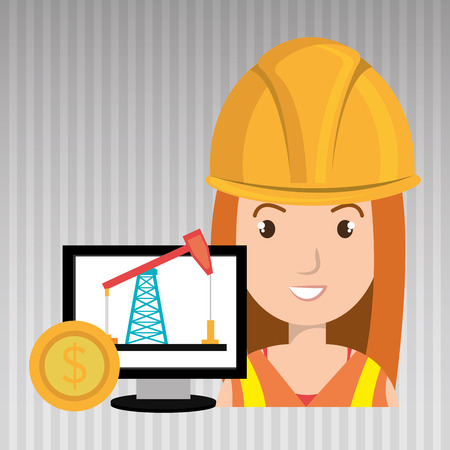 trabajador petroleros: oil worker person isolated icon design, vector illustration  graphic