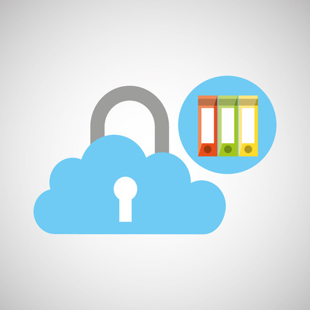 book and security cloud technology icon, vector illustration