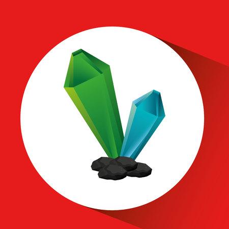 cristal: hand holding cristal, green concept, vector illustration