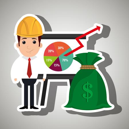 probability: man and statistics isolated icon design, vector illustration  graphic Illustration