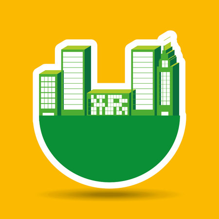 grass vector: green city concept over grass, vector illustration Illustration
