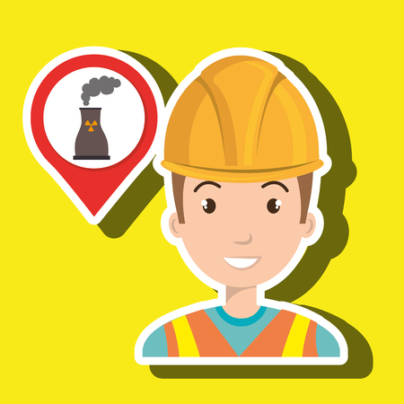 generate: man and tower nuclear isolated icon design, vector illustration  graphic