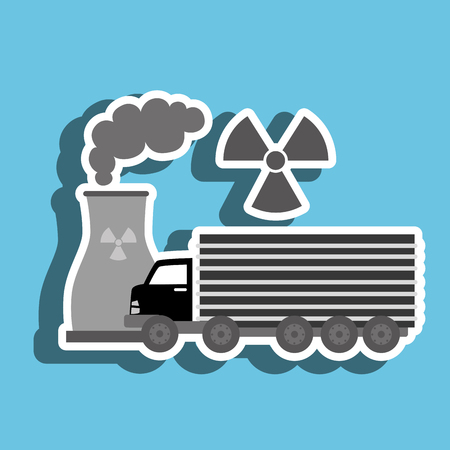 reactor: truck and reactor isolated icon design, vector illustration  graphic