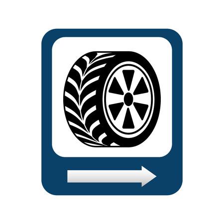 ring road: wheel repair signal isolated icon design, vector illustration  graphic