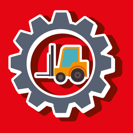work crate: signal forklift isolated icon design, vector illustration  graphic