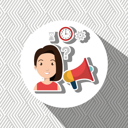 woman with speaker isolated icon design, vector illustration  graphic