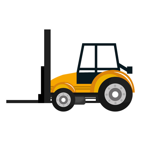 Construction vehicle machinary isolate flat icon, vector illustration.