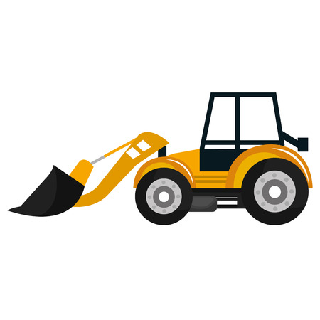 excavation: Construction vehicle machinary isolate flat icon, vector illustration.