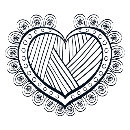 romanticism: Decorative and beautiful heart design, vector illustration graphic. Illustration