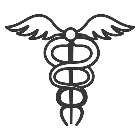 caduceo: Medical healthcare caduceus isolated flat icon, vector illustration graphic design.