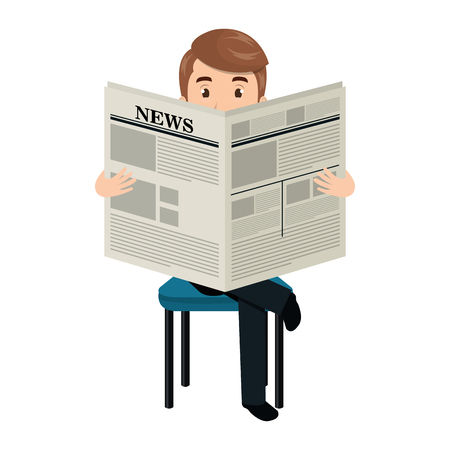 article: Man reading newspaper cartoon design, vector illustration graphic. Illustration