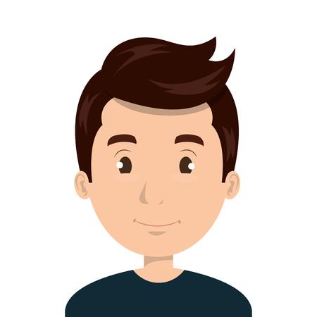Young man face cartoon design, vector illustration graphic icon.