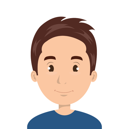 Young man face cartoon design, vector illustration graphic icon. Ilustração