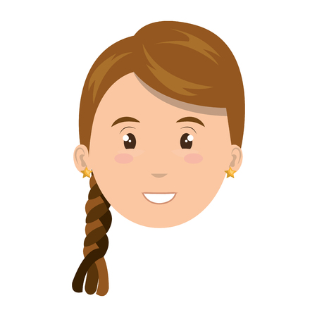 Young and beautiful woman cartoon face, vector illustration graphic design.