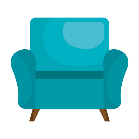 Blue sofa chair furniture isolated flat icon, vector illustration graphic. Çizim