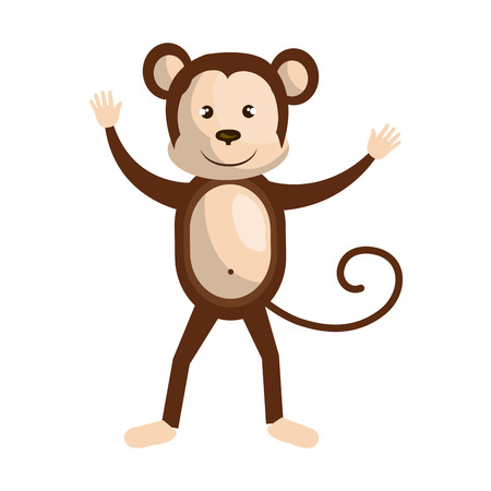 Circus monkey doing pirouettes cartoon design, vector illustration graphic. Illustration