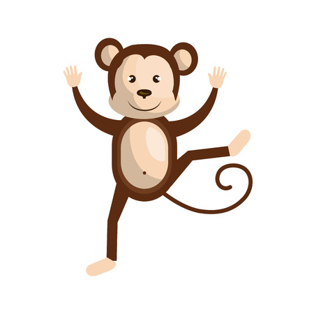 Circus monkey doing pirouettes cartoon design, vector illustration graphic. Illustration
