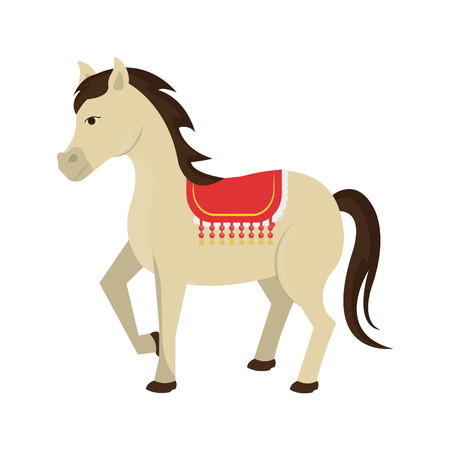 foal: Circus white horse icon cartoon design, vector illustration graphic.
