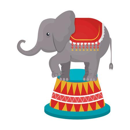 playfull: Circus Elephant doing pirouettes cartoon design, vector illustration graphic. Illustration