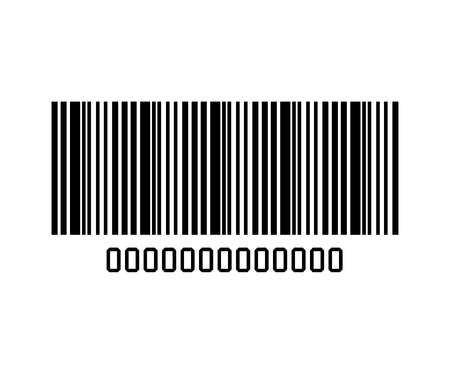 number code: Bar code with serial number black and white icon, vector illustration graphic design. Illustration