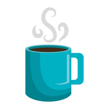 Café délicieux servi en tasse bleue, illustration graphique vectorielle.