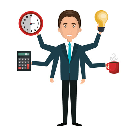 multitasking: Multitasking person cartoon with icons, vector illustration graphic design. Illustration