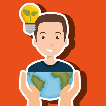 persons with planet isolated icon design, vector illustration  graphic
