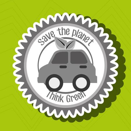 Denk groen geïsoleerde pictogram ontwerp, vector illustratie grafisch Stock Illustratie