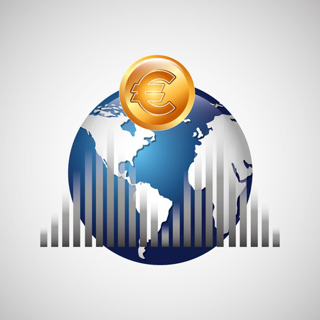 global work company: business world money economy finance isolated, vector illustration Illustration