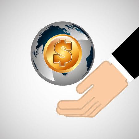 business world money economy finance isolated, vector illustration Illustration