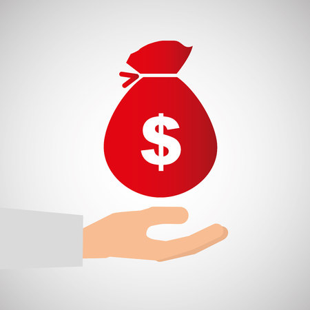 hand with a bag of money: bag money business hand finance isolated, vector illustration Illustration