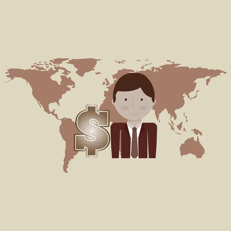 business globe: business world money economy finance isolated, vector illustration Illustration