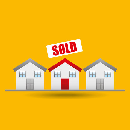 indicator board: sale house home sold business isolated, vector illustration