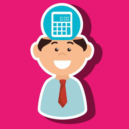 financial advisors: man and calculator isolated icon design, vector illustration  graphic