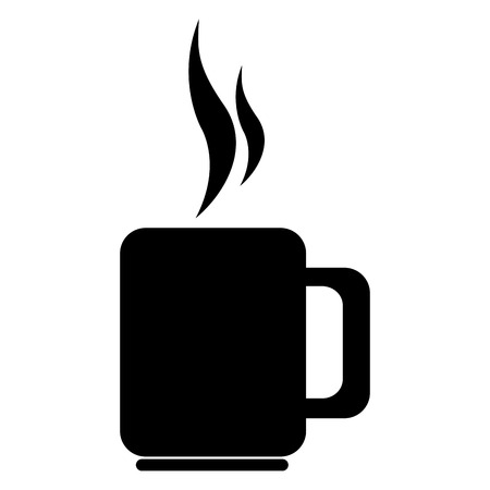 cofee: Delicious and fresh cofee cup, black and white isolated flat icon.