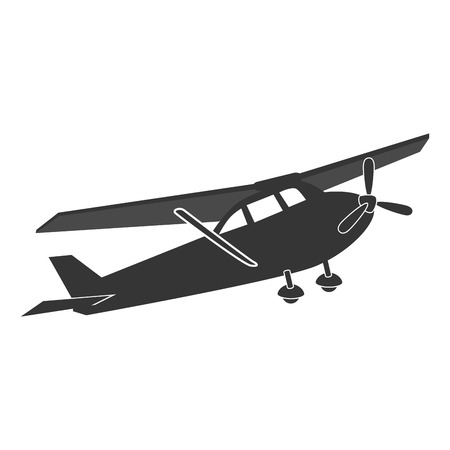 cockpit: Small airplane in black and white colors isolated flat icon, vector illustration.