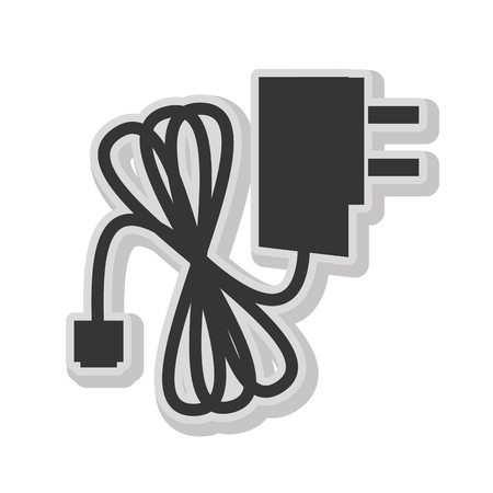 adapter: Plug and wire in black and white colors isolated flat icon, vector illustration.