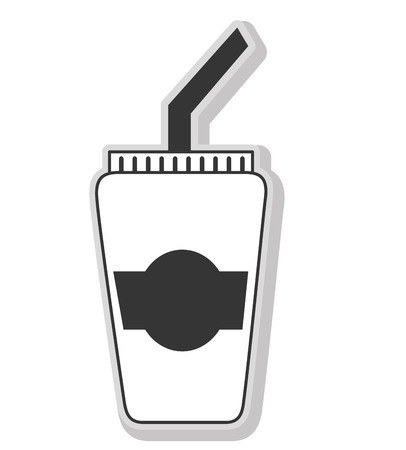 cofee cup: Delicious and fresh cofee cup, black and white isolated flat icon.