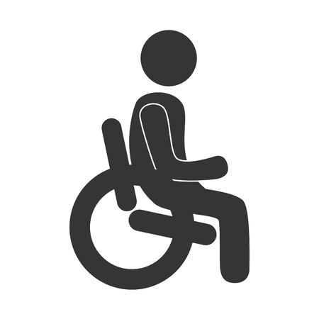 paralyze: Handicap in black and white colors isolated flat icon, vector illustration graphic.
