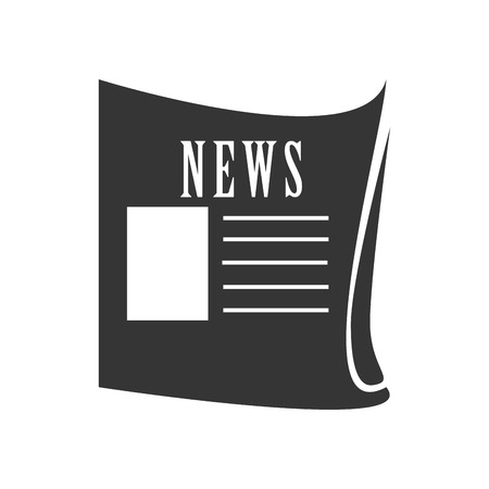 news paper: News paper in black and white colors isolated flat icon, vector illustration.
