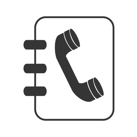 listings: Telephone directory in black and white colors isolated flat icon, vector illustration.